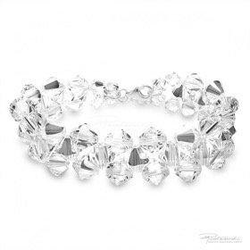 Bransoletka pleciona z kryształów Crystal, 6 mm, 8 mm, dł. 19 cm