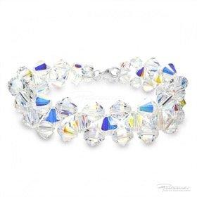 Bransoletka pleciona z kryształów Crystal AB, 6 mm, 8 mm, dł. 19 cm
