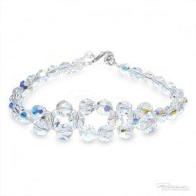 Bransoletka pleciona z kryształów Crystal AB, 6 mm, dł. 19 cm
