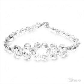 Bransoletka pleciona z kryształów Crystal, 6 mm, dł. 19 cm