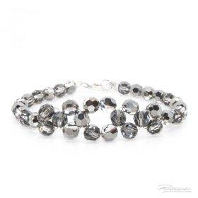 Bransoletka pleciona z kryształów Silver Night, 6 mm, dł. 19 cm