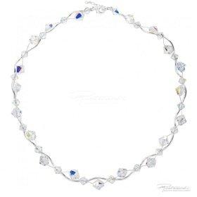 Naszyjnik pleciony ze srebra i kryształów Crystal AB, 6mm, 8mm, dł. 42cm +2,5cm