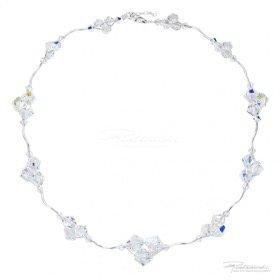 Naszyjnik pleciony ze srebra i kryształów Crystal AB 4-10mm, dł. 42cm + 2,5 cm