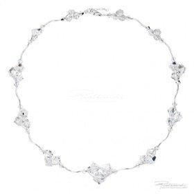 Naszyjnik pleciony ze srebra i kryształów Crystal 4-10mm, dł. 42cm + 2,5 cm