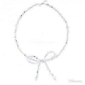 Naszyjnik z kokardką z kryształów Crystal AB dł. 42,5 cm