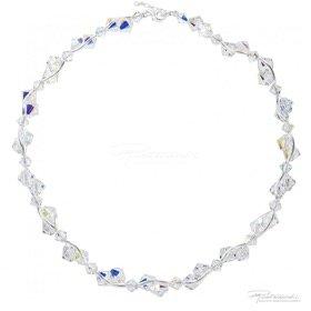 Naszyjnik ze srebra i kryształów Crystal AB, 6mm,8mm, dł. 42cm + 2,5cm