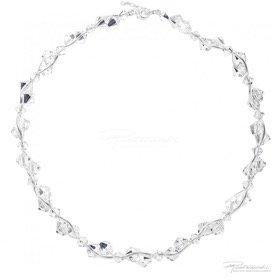 Naszyjnik ze srebra i kryształów Crystal, 6mm,8mm, dł. 42cm + 2,5cm
