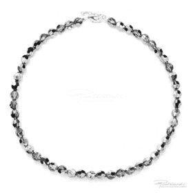 Naszyjnik ze srebra i kryształów Silver Night 8 mm