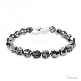 Bransoletka ze srebra i kryształów Silver Night 8 mm