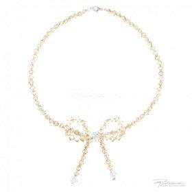 Naszyjnik z kokardką kryształów  Golden Shadow, Crystal dł. 42,5 cm