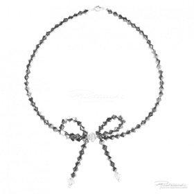 Naszyjnik z kokardką kryształów Silver Night, Crystal dł. 42,5 cm