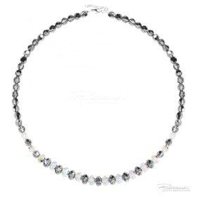 Naszyjnik z kryształów Crystal AB, Silver Night, 6 mm-8 mm, dł.43 cm