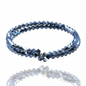 Podwójna bransoletka wykonana z kryształów Swarovskiego 4 mm w kolorze Metallic Blue