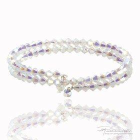 Podwójna bransoletka z kryształów Swarovskiego 4 mm w kolorze intensywny Crystal AB