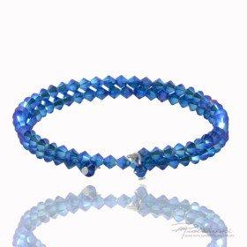 Podwójna bransoletka wykonana z kryształów Swarovskiego 4 mm w kolorze Capri Blue