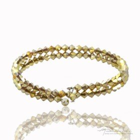 Podwójna bransoletka wykonana z kryształów Swarovskiego 4 mm Metallic Sunshine