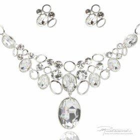 Komplet biżuterii ze stali szlachetnej w kolorze srebrnym z kryształami Crystal