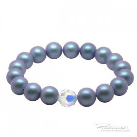 Bransoletka na gumce z pereł Iridescent Light Blue Pearl i kryształu Crystal AB 10 mm