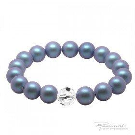 Bransoletka na gumce z pereł Iridescent Light Blue Pearl i kryształu Crystal 10 mm
