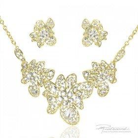 Komplet biżuterii ze stali szlachetnej w kolorze złotym i kryształów Crystal