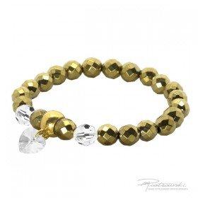 Bransoletka ze złotego hematytu i kryształów Crystal 8 mm oraz z zawieszką serce 10 mm