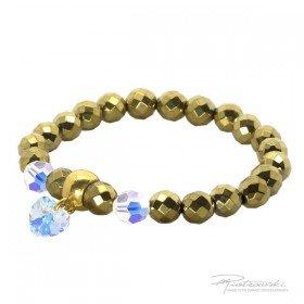 Bransoletka ze złotego hematytu i kryształów Crystal AB 8 mm oraz z zawieszką serce 10 mm