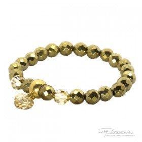 Bransoletka ze złotego hematytu i kryształów Golden Shadow 8 mm oraz z zawieszką serce