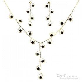 Delikatny komplet ze stali szlachetnej w kolorze złotym z kryształami Jet.