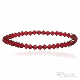 Bransoletka na gumce z kryształów Swarovskiego 4 mm w kolorze Scarlet