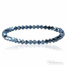 Bransoletka na gumce z kryształów Swarovskiego 4 mm w kolorze Metallic Blue