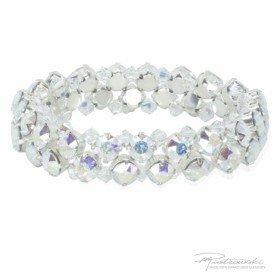 Bransoletka na gumce z kryształów Crystal AB oprawionych w stal chirurgiczną