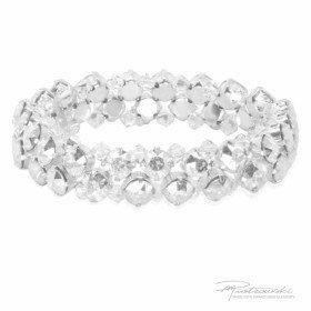 Bransoletka na gumce z kryształów Crystal oprawionych w stal chirurgiczną