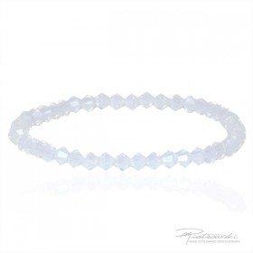 Bransoletka na gumce z kryształów Swarovskiego 4 mm w kolorze White Opal