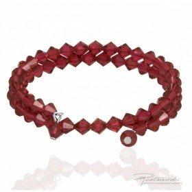 Podwójna bransoletka z kryształów Swarovskiego 6 mm w kolorze Scarlet
