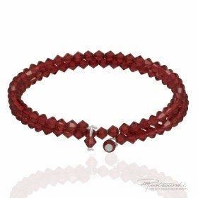 Podwójna bransoletka wykonana z kryształów Swarovskiego 4 mm w kolorze Scarlet