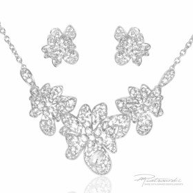 Komplet biżuterii ze stali szlachetnej w kolorze srebrnym i kryształów Crystal
