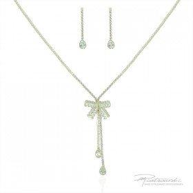 Komplet biżuterii ze stali szlachetnej w kolorze złotym z kryształami Crystal