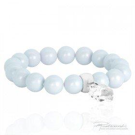 Dziecięca bransoletka na gumce z pereł Pastel Blue i sercem Crystal