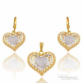Komplet serc ze stali szlachetnej z kryształami Crystal