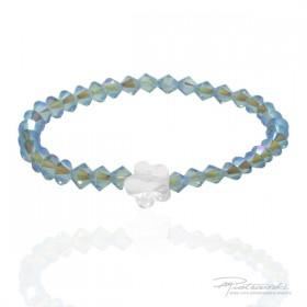 Bransoletka dla dziewczynki z delikatnych kryształków w kolorze opalizującego błękitu