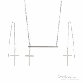 Komplet biżuterii z krzyżykami ze stali szlachetnej w kolorze srebrnym i kryształem Crysta