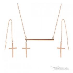 Komplet biżuterii z krzyżykami ze stali szlachetnej w kolorze różowego złota i kryształem