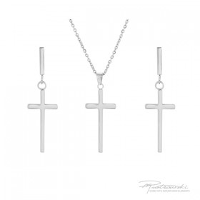 Komplet biżuterii z krzyżykami ze stali szlachetnej w kolorze srebrnym i kryształem Crytal