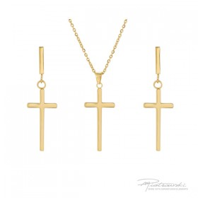 Komplet biżuterii z krzyżykami ze stali szlachetnej w kolorze złotym i kryształem Golden S