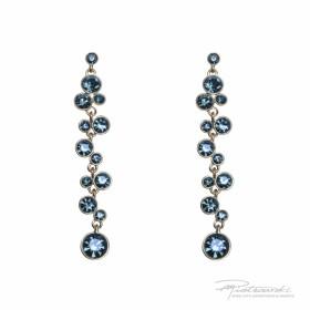 Kolczyki ze Stali Szlachetnej z kryształami Montana, długość 7,5 cm
