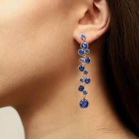 Kolczyki ze Stali Szlachetnej z kryształami Sapphire, długość 7,5 cm