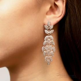 Kolczyki ze stali szlachetnej w kolorze różowego złota z kryształkami Crystal