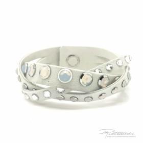 Bransoletka z Alcanatary z kryształami White Opal i Crystal