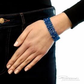 Bransoletka pleciona z kryształów Capri Blue AB 4 mm , dł. 18,5 cm + 2,5 cm